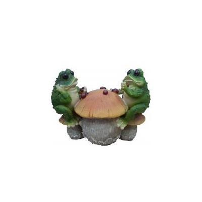 Лягушки на грибе с бож.коровками В-21см