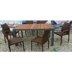Комплект стол+6стульев ротанг